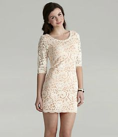 Freeway Elbow-Sleeve Lace Dress