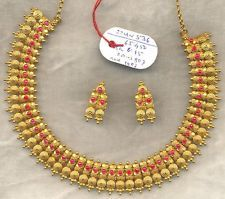 Vintage solid 22 carat Gold Necklace Earring pair Set South India