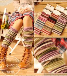 Aliexpress.com : Buy [XW1056] fashion women winter socks all match stripe thickening warm thermal ankle sock free shipping from Reliable soc...
