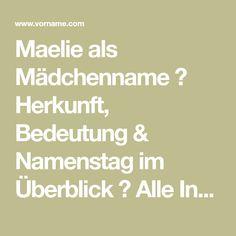 Maelie als Mädchenname ♀ Herkunft, Bedeutung & Namenstag im Überblick ✔ Alle Infos zum Namen Maelie auf Vorname.com entdecken!