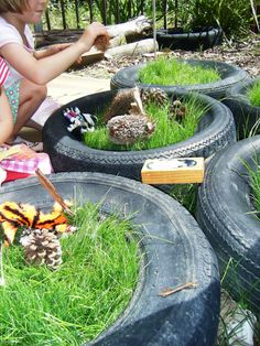let the children play: imaginative play in a tyre. Great idea for natural small world play, will go great next to my new fairy garden! Outdoor Learning Spaces, Outdoor Play Areas, Eyfs Outdoor Area Ideas, Outdoor Spaces, Preschool Garden, Sensory Garden, Natural Playground, Outdoor Playground, Playground Design