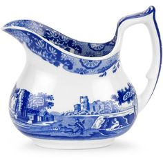 """Spode """"Blue Italian"""" Creamer, 7 oz. ($42) ❤ liked on Polyvore featuring home, kitchen & dining, serveware, blue italian and spode"""