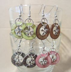Shell Mother of Pearl Disc Dangle Earrings w/ by Pizzelwaddels, $19.97