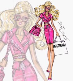 Hayden Williams Fashion Illustrations: 'Moschino Barbie' by Hayden Williams