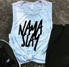 NamaSlay Muscle Tee, workout tank, Beachbody gym shirt, yoga, funny shirt, workout shirt, slay all day, charcoal, slay workout tank by ChloeVSTankDesign on Etsy https://www.etsy.com/listing/501836902/namaslay-muscle-tee-workout-tank