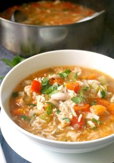 Leftover Turkey Rice Soup, a quick and easy recipe for chilly days. This hearty homemade soup is loaded with veggies for extra goodness, it Beef Recipes, Soup Recipes, Dinner Recipes, Healthy Recipes, Restaurant Recipes, Quick Recipes, Healthy Tips, Fall Recipes, Healthy Meals