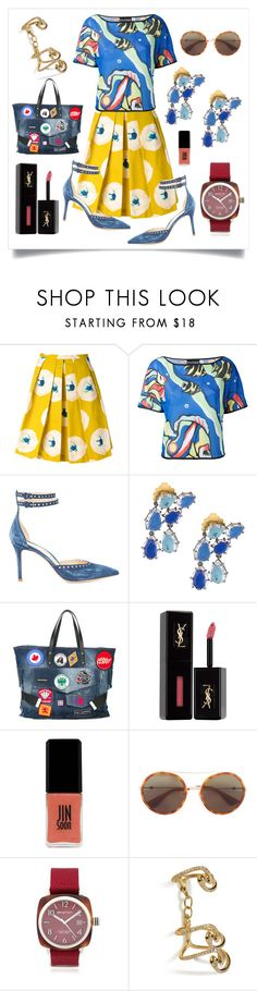 """Fish Print Blouse With Eggs Floral Print Skirt..**"" by yagna ❤ liked on Polyvore featuring Eggs, Boutique Moschino, Marion Parke, Dsquared2, Yves Saint Laurent, JINsoon, Gucci, Briston, Ileana Makri and vintage"