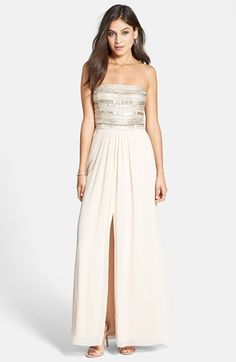 Aidan Mattox Embellished Bodice Strapless Gown available at #Nordstrom