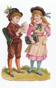 2 Victorian Scraps Children Music Box Doll School Bag Garden Die Cuts 1880s (04/15/2012)