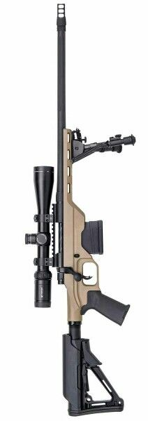Mossberg MVP-LC...chambered in 5.56x45 (223rem) or 7.62x51 (308win). Featuring Magpul furniture, Harris bipod, and Vortex HS-T MRAD 4-16x44 (i could be wrong on the model of the scope) and Silencer Co. QD muzzel break. Also accepts a multitude of different mag types, i believe it ships with 1 or 2, 10rd magpul p-mags. Pack as stands i believe starts at $1,900 give or take. Seems like a pretty good deal to me! Everyting needed to be ready to shoot right out of the box.