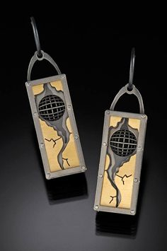 "E. Douglas Wunder, Artist, Titanium, 18k gold Bi-Metal 1.75"" x .50"" x .25"""