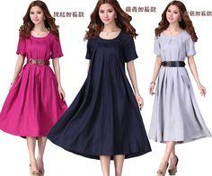 Uma peça vestido solto para mulheres de algodão de manga curta elegante vestido com cinto em Vestidos de Moda e Acessórios no…