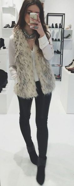 faux fur vest. everyday style.
