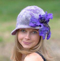 Gray Purple  hat Felted hat with Purple flower  Felt hat Great