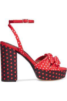 Tabitha Simmons - Jodie Polka-dot Twill Platform Sandals - Red - IT39.5