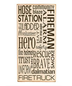 Take a look at this Vinyl Crafts Cream & Red Fireman Subway Wall Plaque by Everyday Heroes: Home Décor on today! Firefighter Family, Firefighter Decor, Firefighter Quotes, Firefighter Bedroom, Female Firefighter, Fireman Room, Fireman Nursery, Heroes Fire, H & M Home