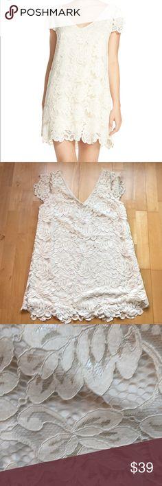 "BB Dakota Ivory Lace Jaqueline Shift Dress NWT Ivory lace shift dress with fluttery sleeves and scalloped hem. Slips on over neck, vneck. New with tags. 34"" from Shoulder to hem BB Dakota Dresses"