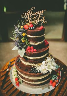 three tier naked floral cake topper decorations / http://www.deerpearlflowers.com/rustic-berry-wedding-cakes/
