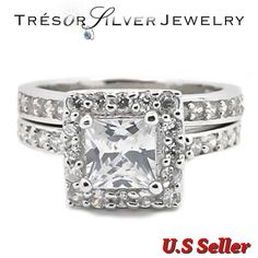 womens princess cut cz sterling silver wedding engagement ring size 5 6 7 8 9 10 #Unbranded Engagement Ring Sizes, Engagement Ring Settings, Wedding Engagement, Cubic Zirconia Engagement Rings, Princess Cut, 9 And 10, Sterling Silver, Ebay, Jewelry