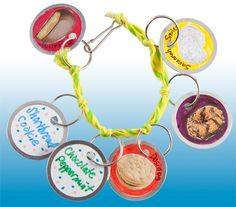 cookie charm bracelets craft  Cute craft for cookie rally Supplies: Metal rimmed tags Small cookie pictures Fine tipped markers Premade friendship or rainbow loom bracelets