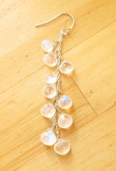 Moonstone earrings cluster fiery rainbow silver by WynnDesign, $50.00
