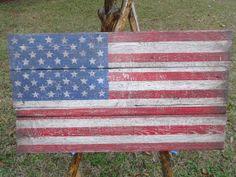 Wooden American Flag On Vintage Reclaimed Barn Wood.