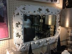 """Fabulous Ornate White Lacquered Wood Framed Beveled Mirror  Hunky!  46"""" x 32""""  $345  Eclectic Treasures Booth #8279  Lula B's  1010 N. Riverfront Blvd. Dallas, TX 75207  Read more: http://dallas.ebayclassifieds.com/home-decor/dallas/fabulous-ornate-white-lacquered-wood-framed-beveled-mirror/?ad=27824907#ixzz2SqgXHWJf"""