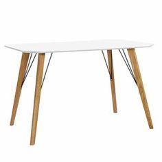 Table rectangulaire MDF laqu� blanc pieds ch�ne Scandie