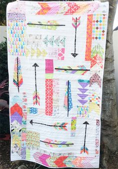 Girls Single Bed Quilt. Feathers, Arrows and Flying Geese
