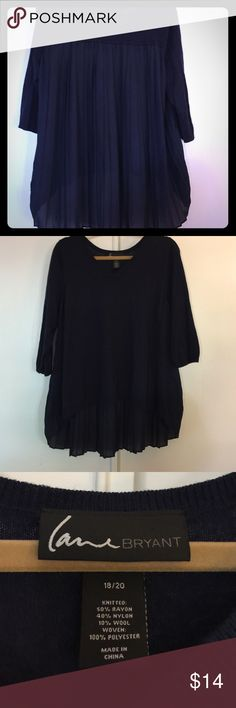Lane Bryant hi-low sweater w/chiffon pleats in bk Lane Bryant navy blue sweater with 3/4 sleeves, adorable hi-low style w/chiffon pleats in back. Size 18/20 Lane Bryant Sweaters Crew & Scoop Necks