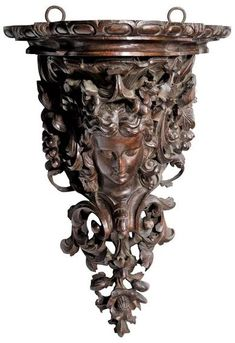 Shop more mirrors and other antique, vintage and modern mirrors from the world's best furniture dealers. Female Mask, Baroque Design, Vine Leaves, Wall Brackets, Corridor, Wood Wall, Cool Furniture, Craftsman, Art Decor