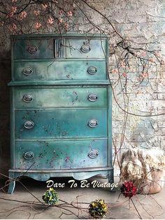 Floral Hand Painted Vintage Dresser