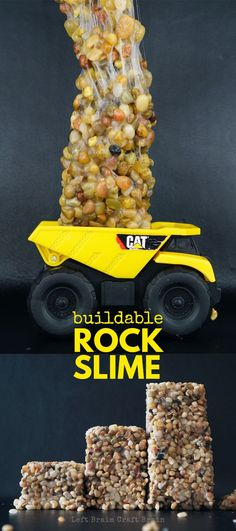 Kids love rocks And kids love slime But what they will REALLY LOVE is Rock Slime Buildable Rock Slime that actually holds its shape DIY kinetic rock Sensory Table, Sensory Bins, Sensory Activities, Sensory Play, Learning Activities, Preschool Activities, Summer Activities, Preschool Plans, Nursery Activities