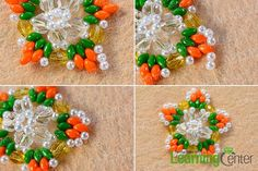 make the fourth part of the 2-hole seed bead and pearl star earrings