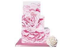 Square painted, pink step wedding cake | Lulu Cake Boutique | blog.theknot.com