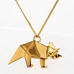 origami triceratops necklace
