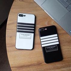 iPhone8 ケース ブランド トムブラウン アイフォン7s カバー iPhone7 ソフトケース 黒白 シンプル 欧米風 iPhone6plus thom browne 浮き彫り