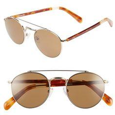 TOMS 'Jarrett' 51mm Polarized RetroSunglasses ($179) ❤ liked on Polyvore featuring accessories, eyewear, sunglasses, polarized lens sunglasses, uv protection sunglasses, round metal glasses, toms eyewear and polarized sunglasses