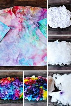Ice Tie Dye Technique: How to Tie Dye with Ice Did you know you can tie dye with ICE? This tie dye technique and pattern is so easy and produces a beautiful result similar to a galaxy effect! Ice Tie Dye, How To Tie Dye, How To Dye Fabric, Tye Dye, Diy Tie Dye Shirts, Diy Shirt, Diy Tie Dye Dress, Patterns Background, Hippie Style