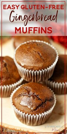 Moist and packed with gingerbread spices, this Gluten-Free Gingerbread Muffins recipe is quick and easy to make and will quickly become a favorite with the whole family. The light coconut butter glaze Gluten Free Christmas Recipes, No Dairy Recipes, Gf Recipes, Foods With Gluten, Muffin Recipes, Dessert Recipes, Recipies, Paleo Dessert, Sweet Recipes