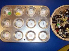 number sense activity in a muffin tin!