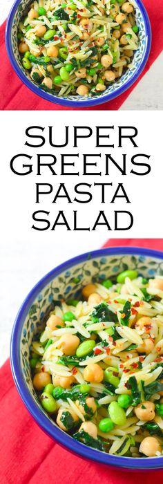 Superfoods Pasta Salad w. peas, edamame, kale, and chicpeas.