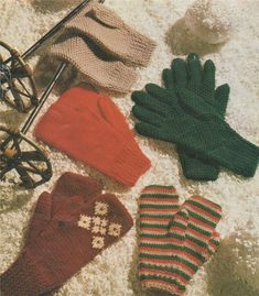 PDF Gloves and Mittens Knitting Pattern : Family . Small . Meduim . Large . DK Yarn . Winter Knits . Hand Warmers . Instant Digital Download by PDFKnittingCrochet on Etsy