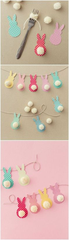 This colorful Easter garland is so easy to make with scrapbook paper and yarn! B… This colorful Easter garland is so easy to create with scrapbook paper and yarn! Children and adults love to do this together. About DIY Candy Kids Crafts, Diy And Crafts, Easter Crafts To Make, Recycled Crafts, Spring Crafts, Holiday Crafts, Halloween Crafts, Easter Garland, Diy Easter Bunting