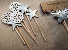 Heather Toner: Silver Star and Lace Doily Cake Topper Decorations - Winter Wonderland Cupcake Toppers Green Christmas, Little Christmas, Christmas Time, Christmas Flowers, Christmas Treats, Glue Crafts, Diy Crafts, Beautiful Christmas Decorations, Holiday Decorations