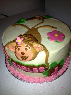 Girls monkey birthday cake