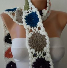 Women Crochet  Scarf  Granny Square Cowl Scarf  White by fatwoman, $25.00  I could do that, maybe?