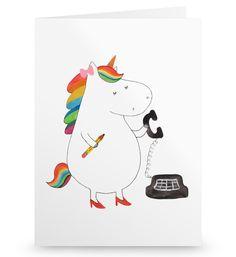 Grußkarte Einhorn Sekretärin aus Karton 300 Gramm  weiß - Das Original von Mr. & Mrs. Panda.  Die wunderschöne Grußkarte von Mr. & Mrs. Panda im Format Din Hochkant ist auf einem sehr hochwertigem Karton gedruckt. Der leichte Glanz der Klappkarte macht das Produkt sehr edel. Die Innenseite lässt sich mit deiner eigenen Botschaft beschriften.    Über unser Motiv Einhorn Sekretärin  Ein Einhorn Edition ist eine ganz besonders liebevolle und einzigartige Kollektion von Mr. & Mrs. Panda. Wie…