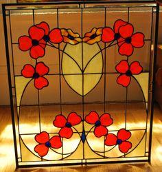 Traditional Poppy Stained Glass Window created by Neil Maciejewski . Making Stained Glass, Stained Glass Flowers, Stained Glass Panels, Stained Glass Projects, Stained Glass Art, Mosaic Glass, Art Nouveau, Art Deco, Leaf Flowers