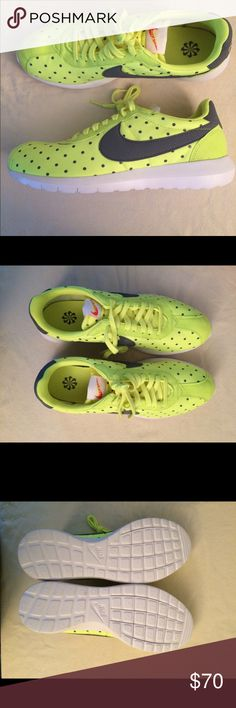 Nike Roshe LD Nike Roshe Size 12 women's- Volt yellow with gray dots and swoosh. White soles, NWB (no lid). Nike Shoes
